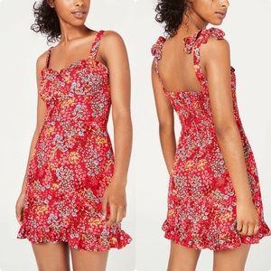 B Darlin Juniors' Floral-Print Ruffled Dress - Ora